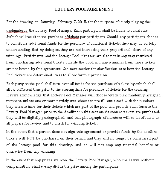 Simple Lottery Pool Agreement Template