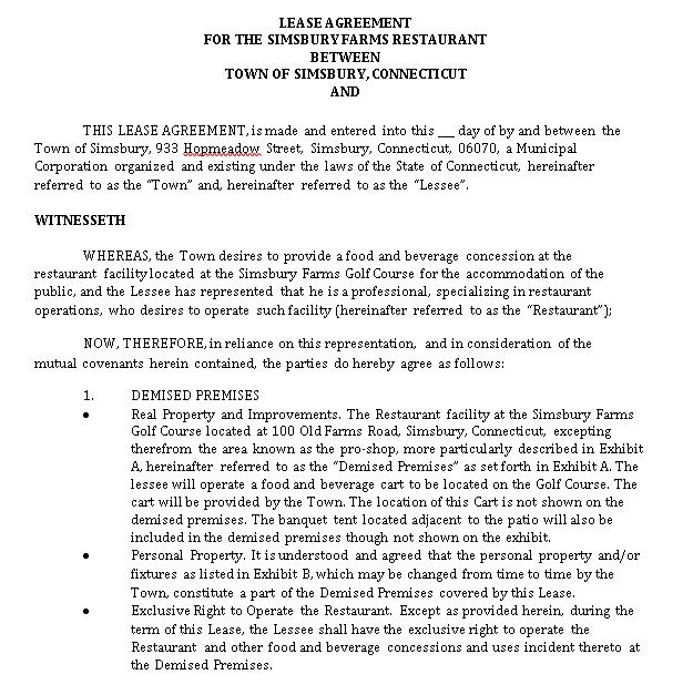Simple Restaurant Lease Agreement