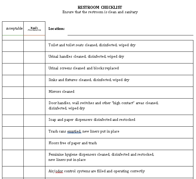 Simple Restroom Checklist Template