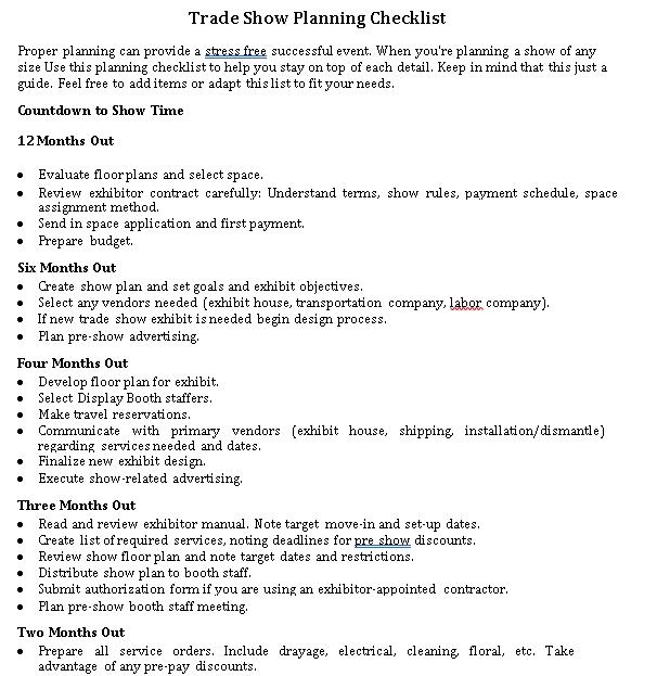 Simple Trade Show Planning Checklist