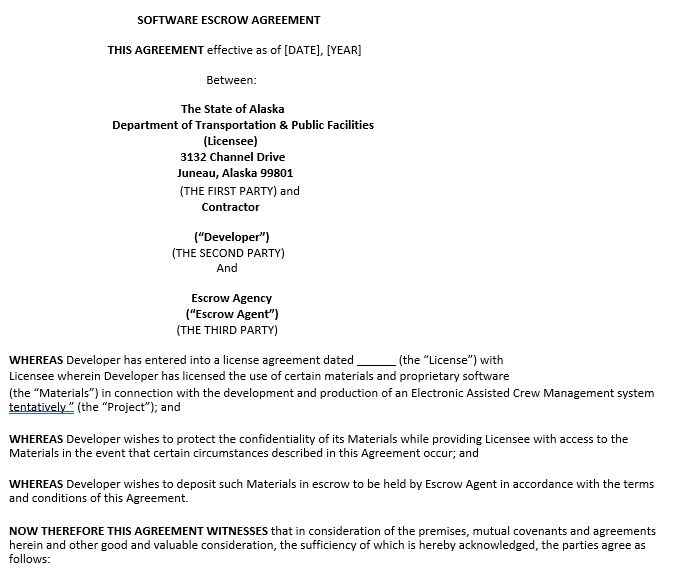 Software Escrow Agreement