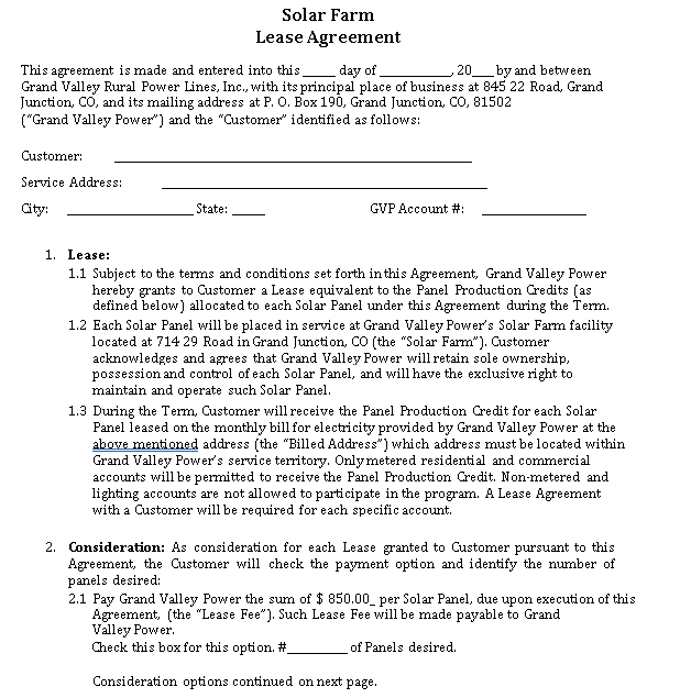 Solar Farm Lease Agreement