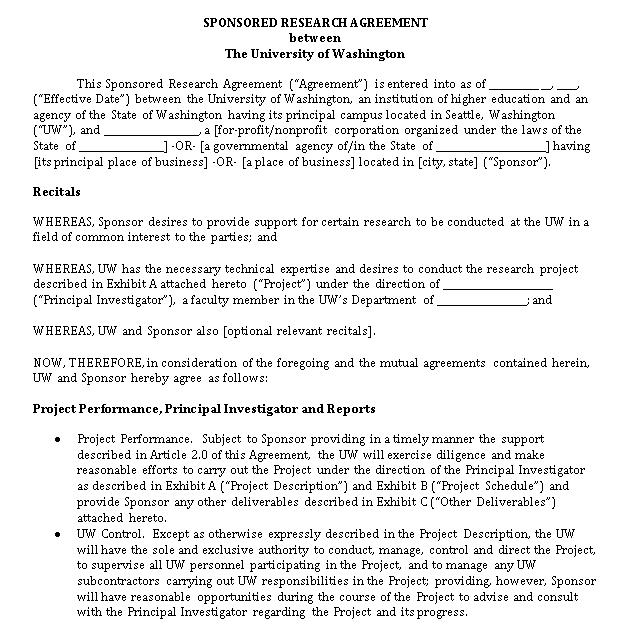 Sponserd Research Legal Agreeement
