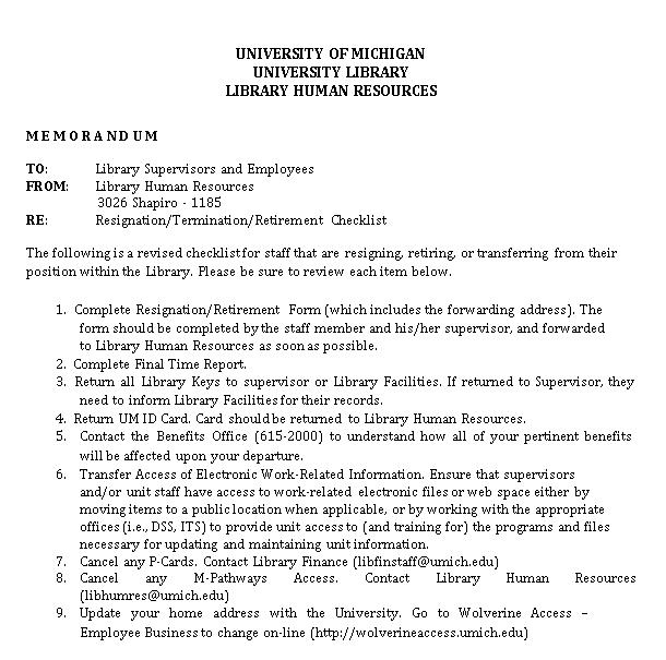 Staff Resignation Checklist Template