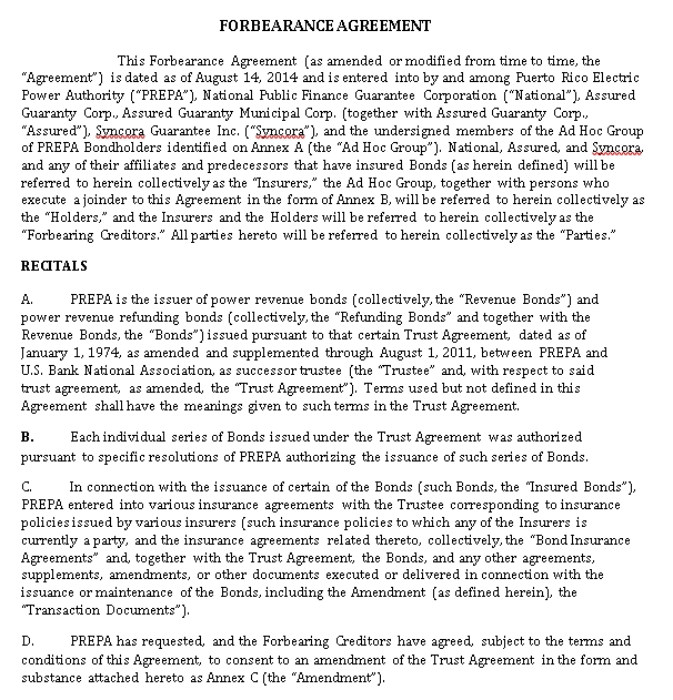 Standard Forbearance Agreement Example