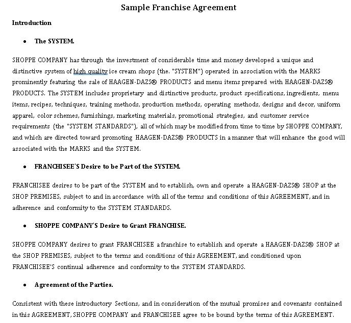 Standard Franchise Agreement