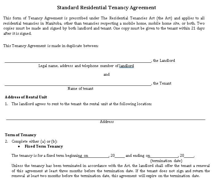 Standard House Rental Agreement
