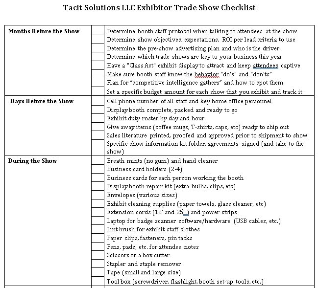 Standard Trade Show Checklist