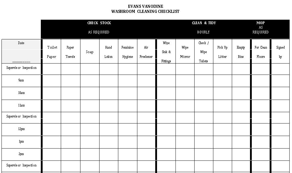 Standard Washroom Cleaning Checklist Template