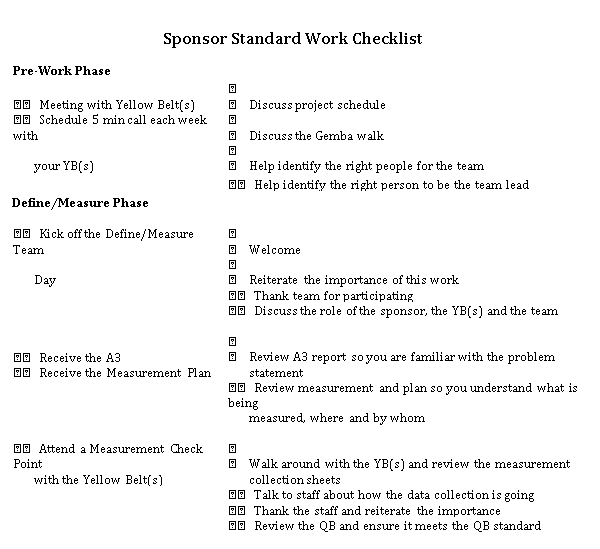 Standard Work Checklist