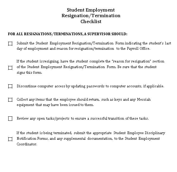 Student Employment Resignation Checklist