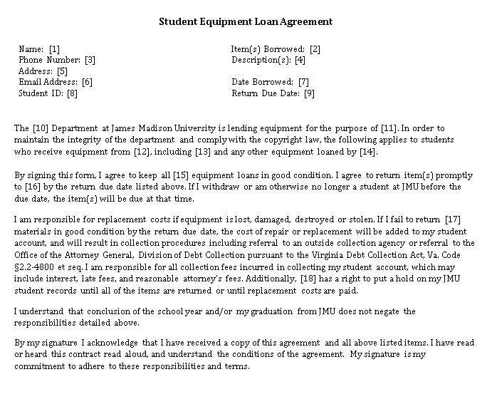 Student Equipment Loan Agreement