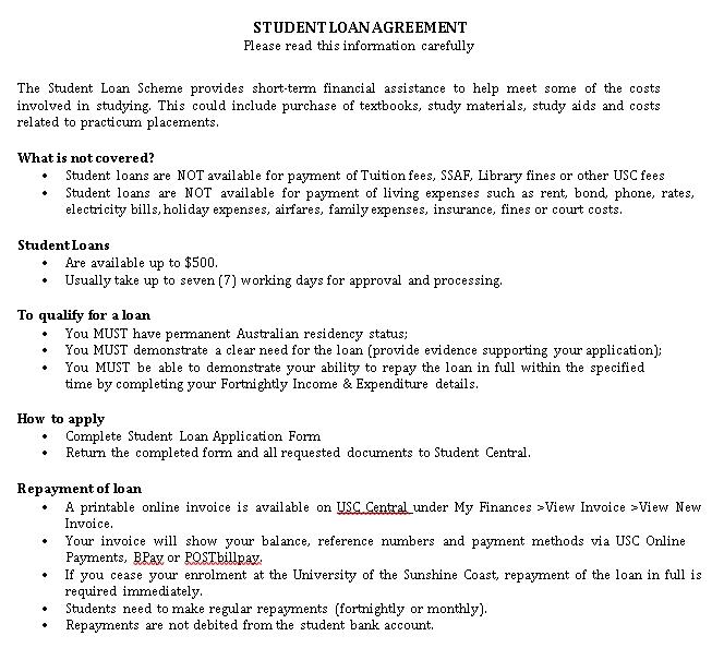 Student Finance Loan Agreement