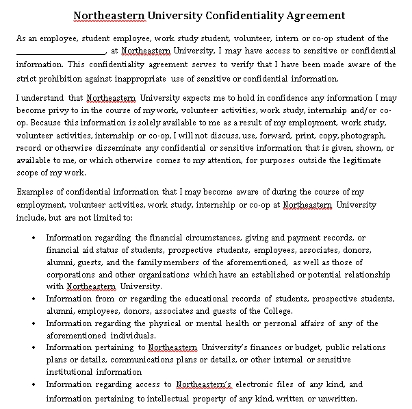Student Financial Confidentiality Agreement