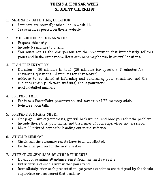 Student Seminar Checklist