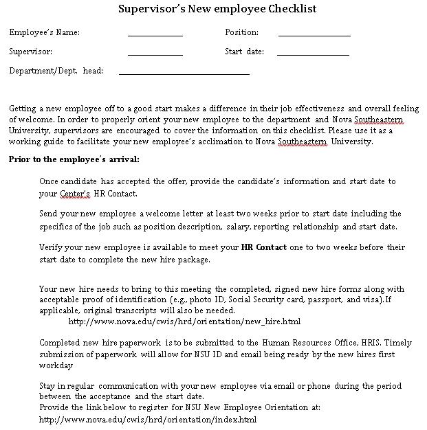 Supervisor New Employee Checklist PDF Format Template
