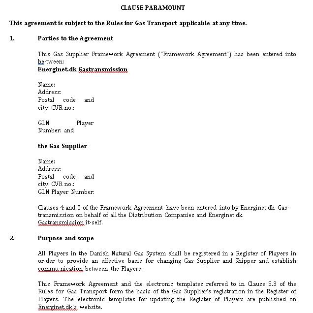 Supplier Framework Agreement