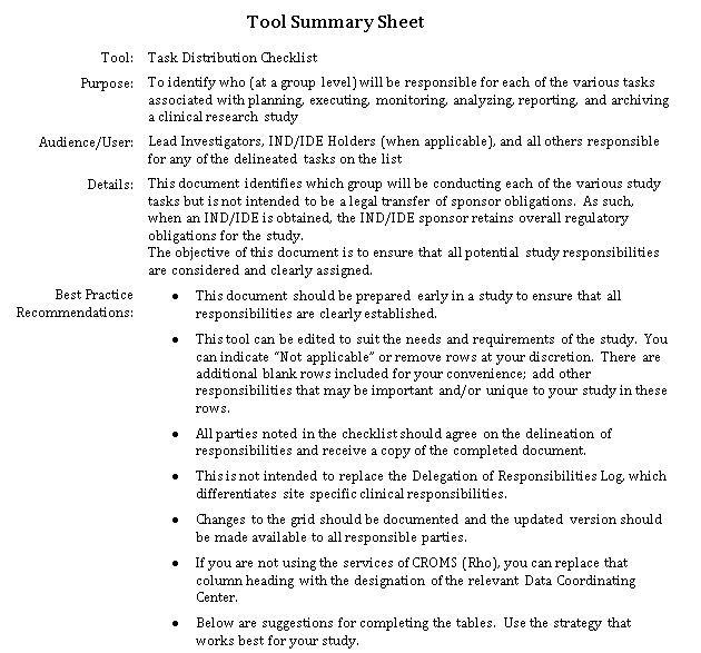 Task Distribution Checklist DOC Format Template