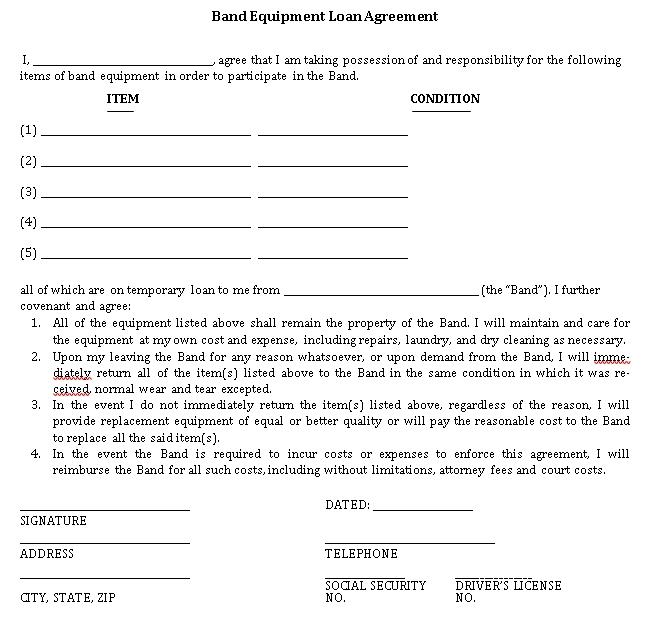 Temporary Equipment Loan Agreement