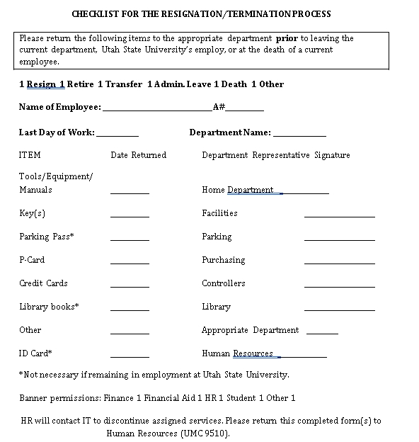 Termination Checklist PDF Format Template