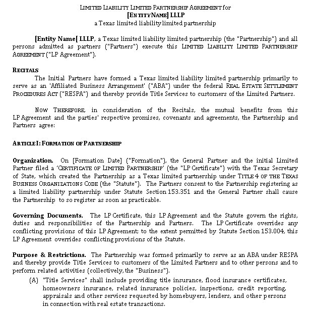 Texas ABAs. Form of LLLP Agreement A0203139