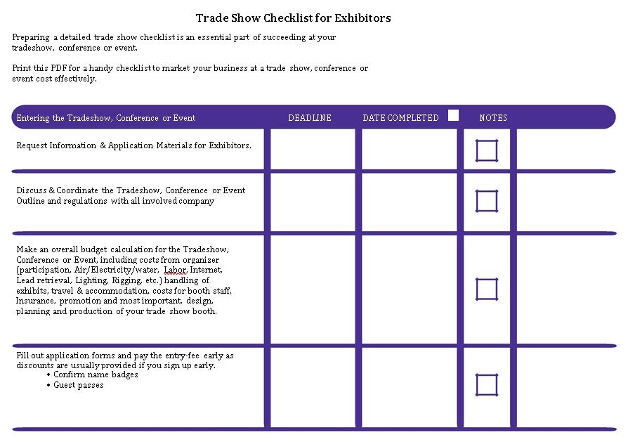 Trade Show Checklist Template