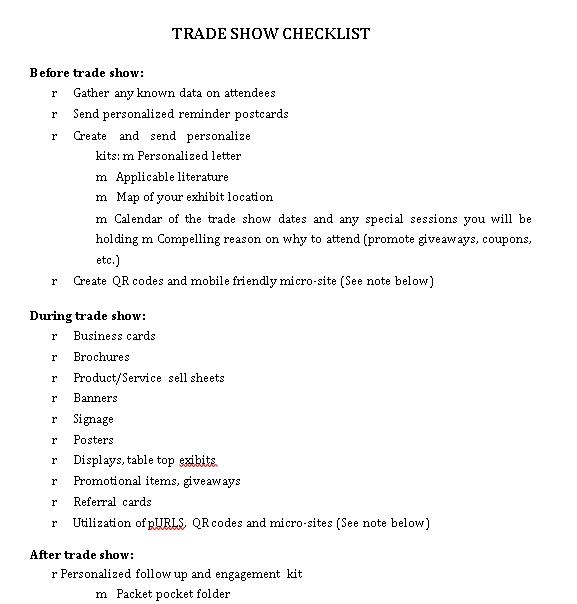 Trade Show Checklist in PDF