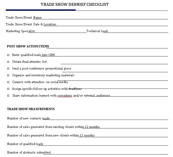 Trade Show Debrief Checklist