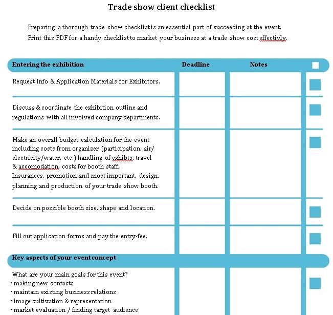 Trade show client checklist