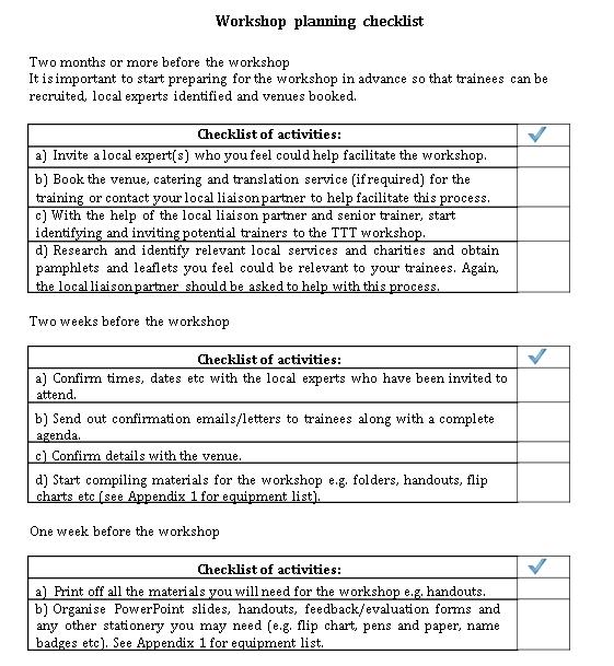Training Workshop Planning Checklist