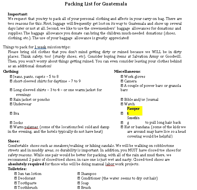 Travel Packing List Template 1