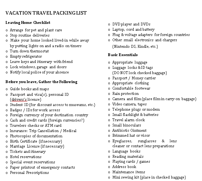 Travel Packing List Template 2
