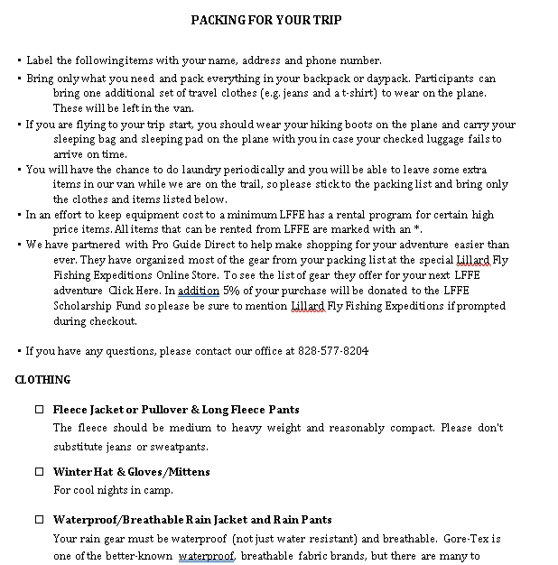 Travel Packing List Template 3