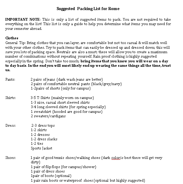 Travel Packing List Template 4