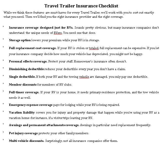 Travel Trailer Checklist