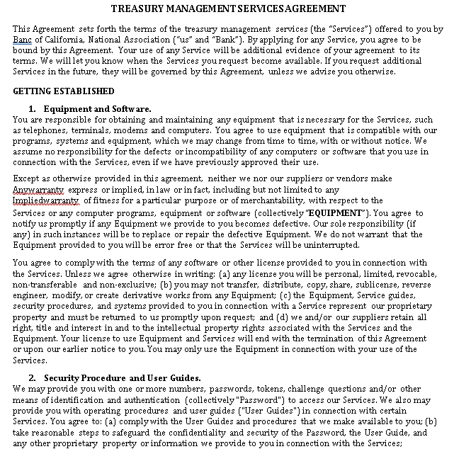 Treasury Management Services Agreement