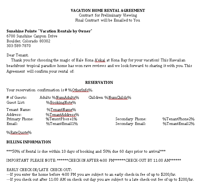 Vacation House Rental Agreement