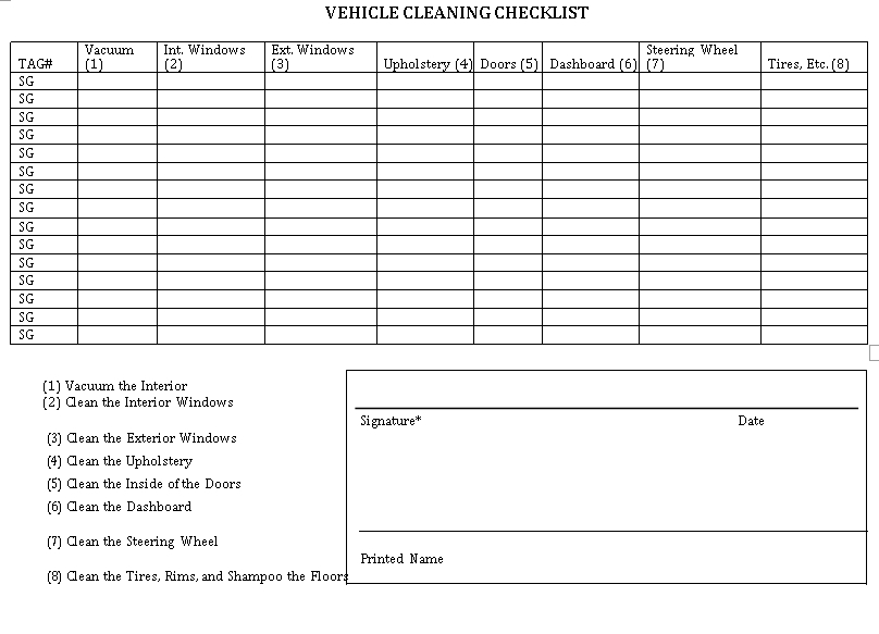 Vehicle Cleaning Checklist Template