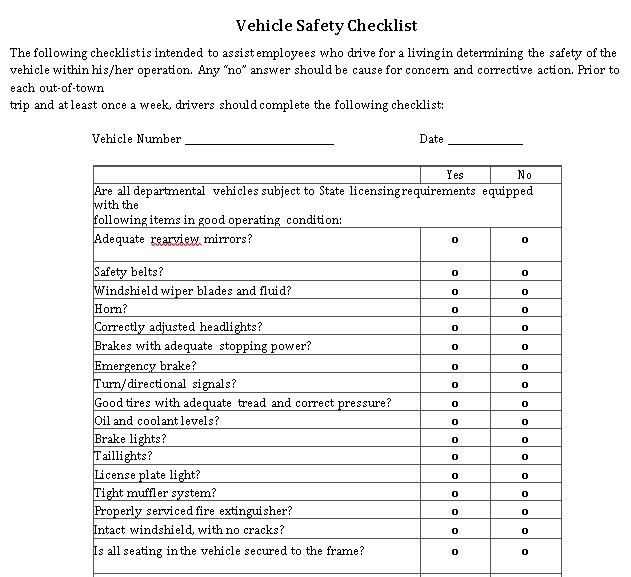 Vehicle Safety Checklist Template