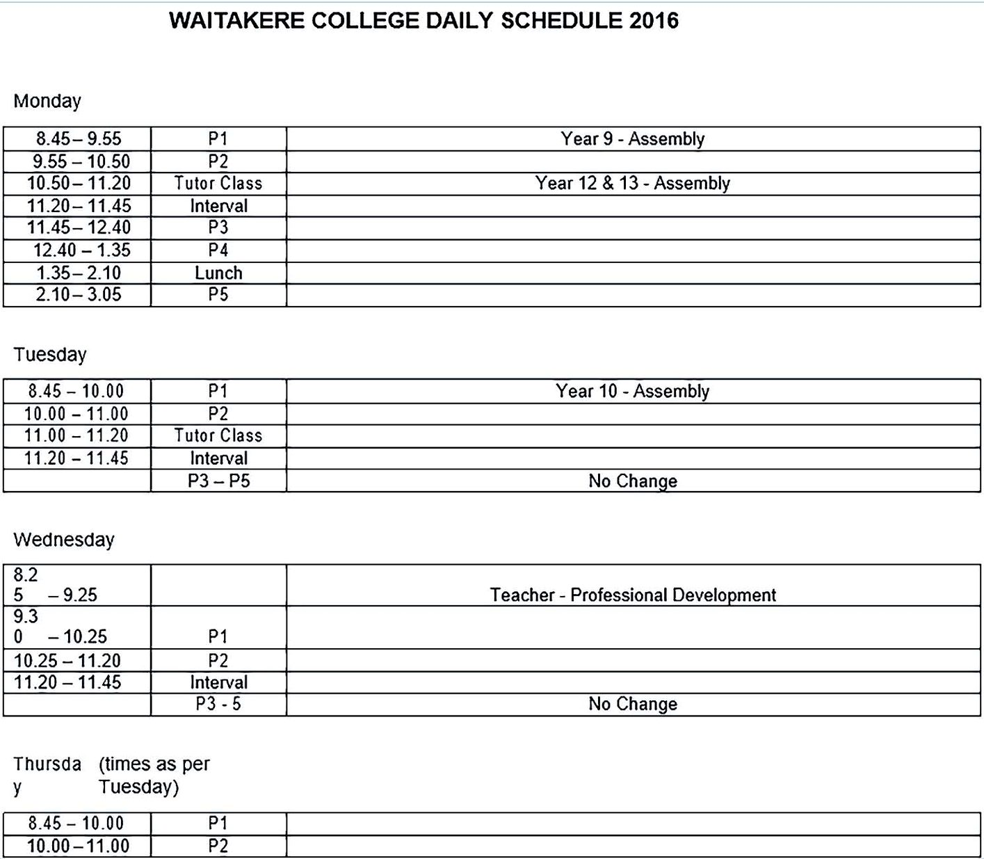 Waitakere College Daily Schedule
