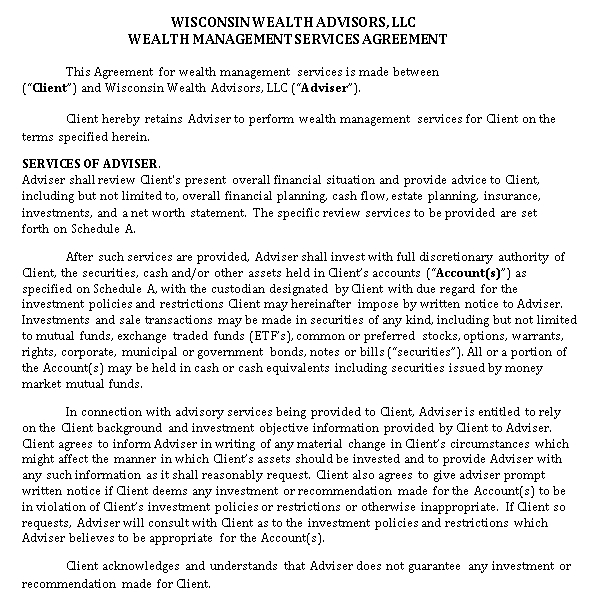 Wealth Management Services Agreement