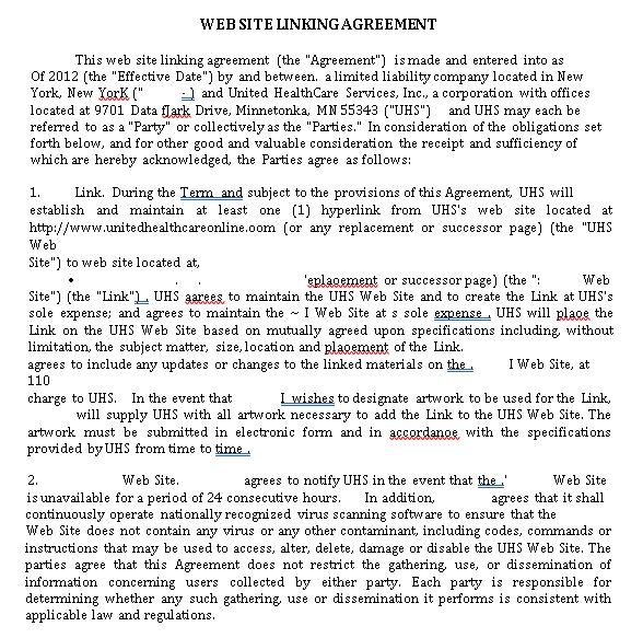 Website Linking Agreement Template