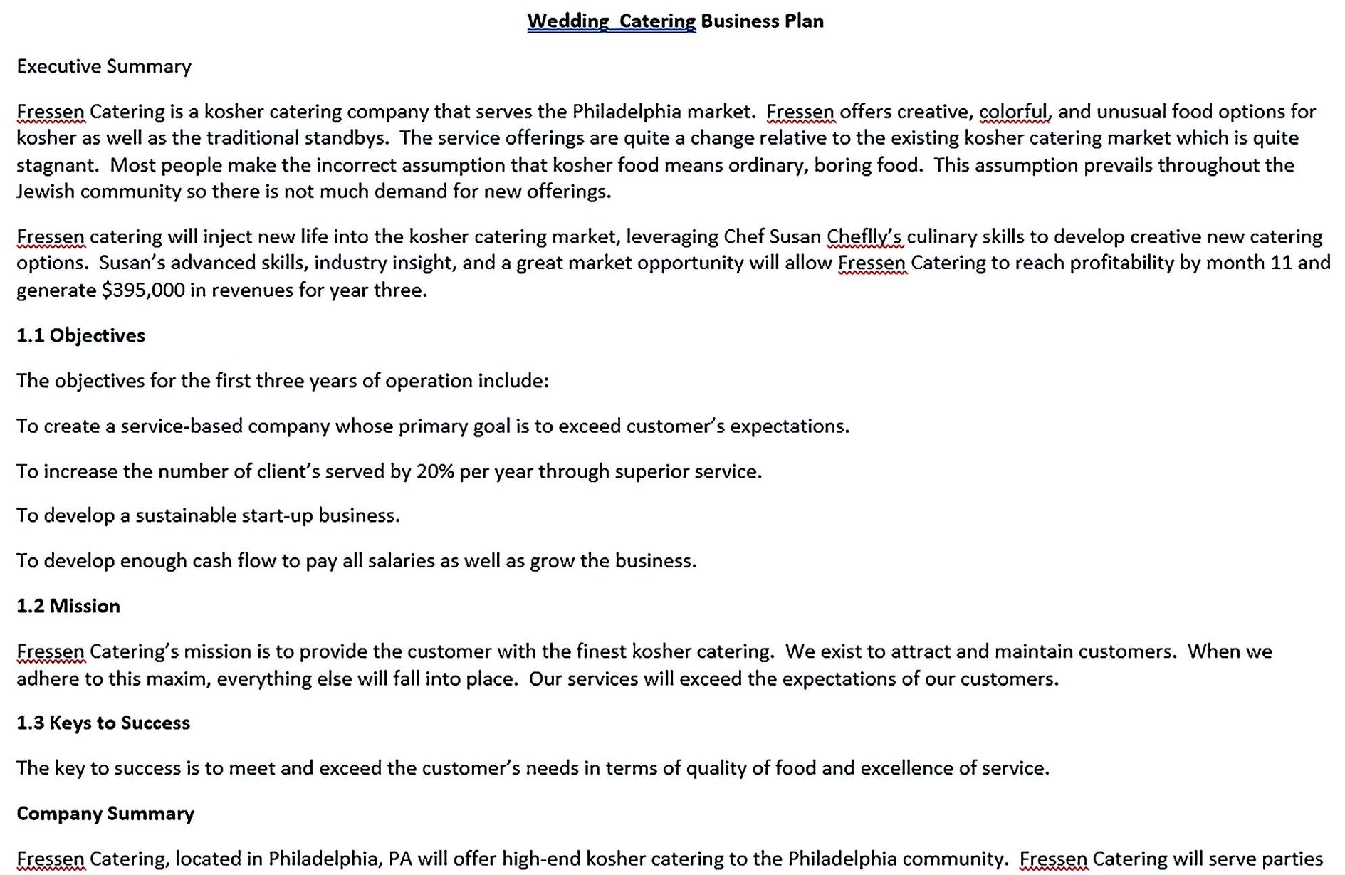 Wedding Catering Business Plan Templates