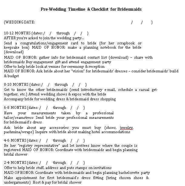 Wedding Day Checklist for Bridesmaid