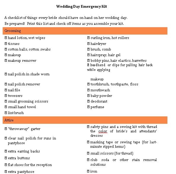 Wedding Day Emergency Checklist