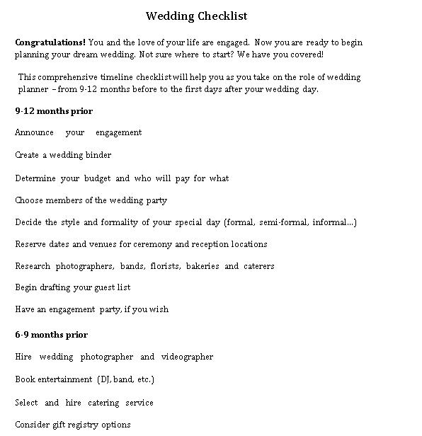 Wedding Day Items Checklist