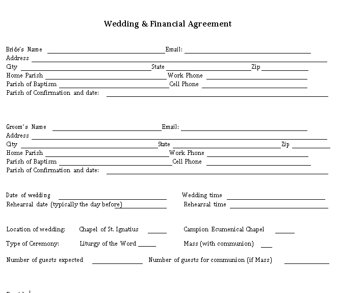 Wedding Finance Agreement