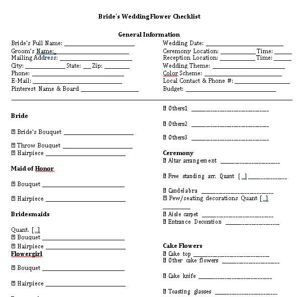 Wedding Flowers Checklist 1
