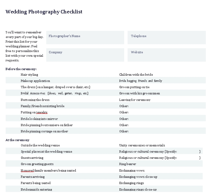 Wedding Photographer Checklist
