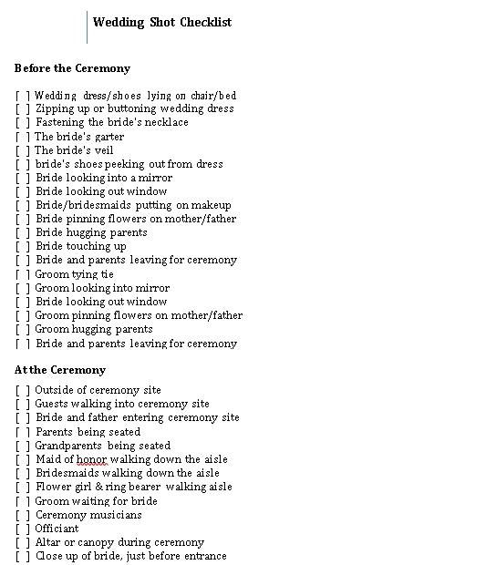 Wedding Shot Checklist 1